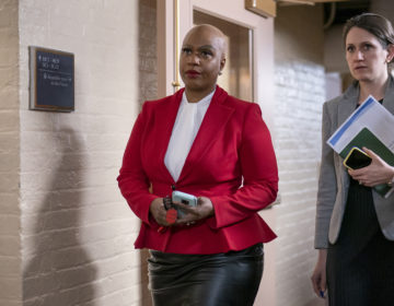 Rep. Ayanna Pressley, D-Mass., and other House Democrats arrive to meet with Speaker of the House Nancy Pelosi, D-Calif., on Capitol Hill in Washington. (J. Scott Applewhite/AP Photo, File)