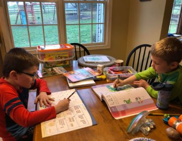 Tara Ryan-Schill's sons Andrew, left, and Luke, right, doing schoolwork at home. Andrew is an 8-year-old on the autism spectrum. (Courtesy of Tara Ryan-Schill)