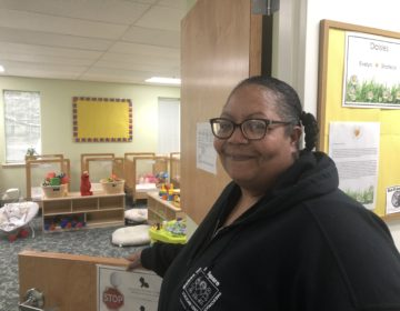 Teaching assistant Shariece Beecham says she will keep going in Babes on the Square Too to care for babies and infants. (Cris Barrish/WHYY)