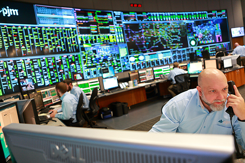 A view inside the control room at PJM Interconnection, which operates the electric grid for 65 million people in 13 states and the District of Columbia. (Courtesy of PJM Interconnection)