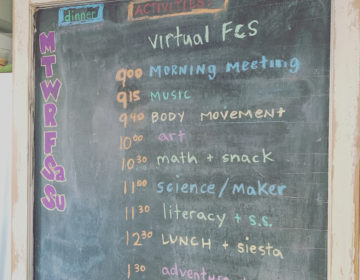 Friends' Central School teacher and mother of two, Tiffany Borsch, creates routine at home amid school closures with daily chalkboard schedule. (Photo courtesy of Tiffany Borsch)