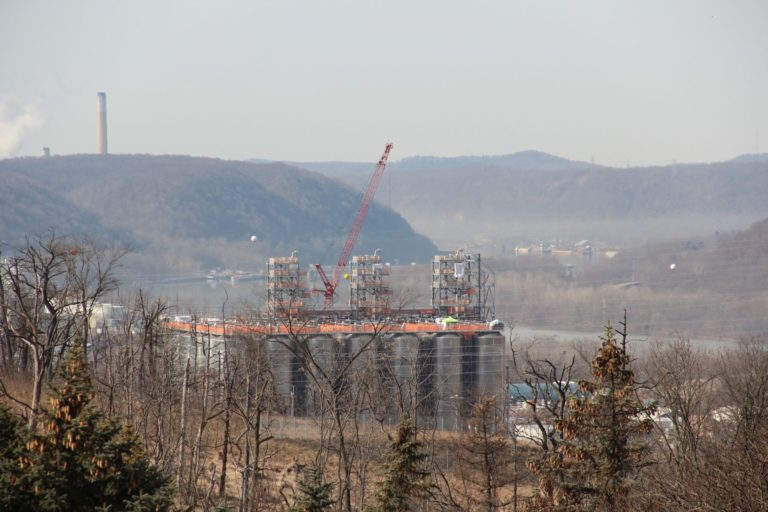 Shell's multi-billion dollar ethane cracker under construction in February, 2020. (Reid R. Frazier/StateImpact Pennsylvania)
