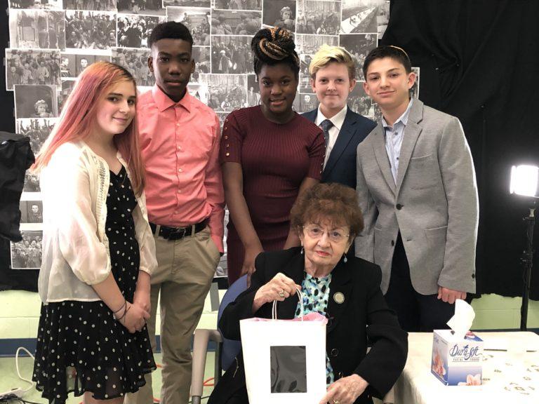 (L - R) Becky Lerman, Jaseem Giles, Izanee Bryant, Daniel Bryerman, Skyler Sholder  pose with   Goldie Finkelstein. (Courtesy Kellman Brown Academy)