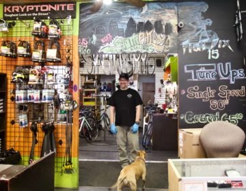 South Philly Bikes owner Dan Oettinger said he'd keep the shop open as long as he's healthy and permitted to do so. (Kimberly Paynter/WHYY)
