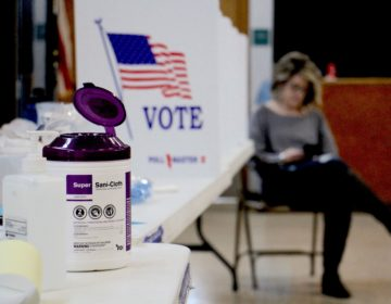 Poll worker Dina Sebold waits for voters at Cecelia Snyder Middle School in Bensalem during a special election for a vacant seat in the Pennsylvania House of Representatives. Hand sanitizer and wipes were made available to voters, many of whom brought their own pens. (Emma Lee/WHYY)