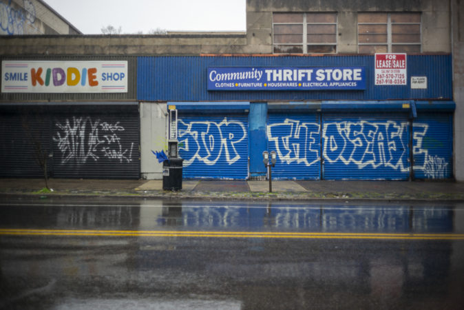 Stores on Chelten Ave. in the Germantown section of Philadelphia are closed during the stay-at-home order. (Jessica Kourkounis for Keystone Crossroads)