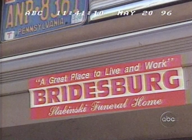 A bumper-sticker for the Slabinski Funeral Home appeared in Nightline's 1996 coverage of Bridesburg. (Vanderbuilt Television News Archive)