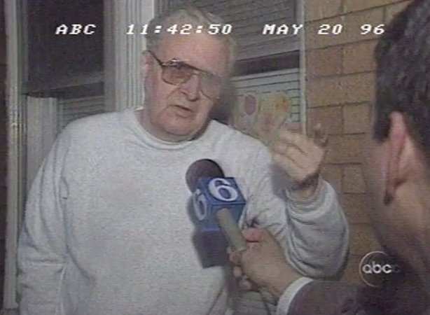 A neighbor defends Bridesburg's treatment of Ward on Nightline's  1996 feature. (Vanderbuilt Television News Archive)