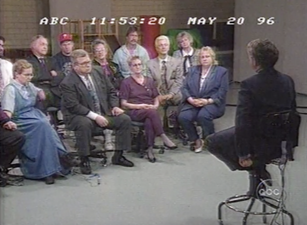 During Nightline's 1996 feature, host Ted Koppel convened a forum of Bridesburg residents to talk about the neighborhood's treatment of Ward. (Vanderbuilt Television News Archive)