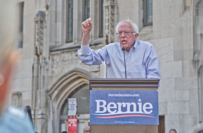 Democratic presidential candidate Bernie Sanders at a rally to save Hahnemann Hospital last year. (Kimberly Paynter/WHYY)