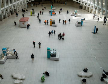 The Oculus transportation hub in New York, on Monday. The governors of New York, New Jersey and Connecticut have banned all gatherings of 50 or more people, and said bars, restaurants, casinos and gyms must close. (Gabriela Bhaskar/Bloomberg via Getty Images)