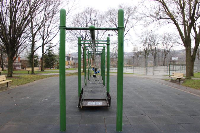 Swings sit empty in Pittsburgh's Arsenal Park on Monday, March 23, 2020. (Katie Blackley/WESA)