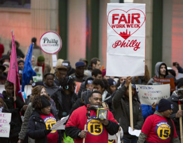 Fast food and retail workers rally for a 'fair workweek' in 2018 JAMES BLOCKER / PHILADELPHIA INQUIRER VIA BROKE IN PHILLY