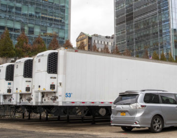 Refrigerated trailers are seen parked at the site of a makeshift morgue being built in New York, Wednesday, March 25, 2020. (Mary Altaffer/AP Photo)