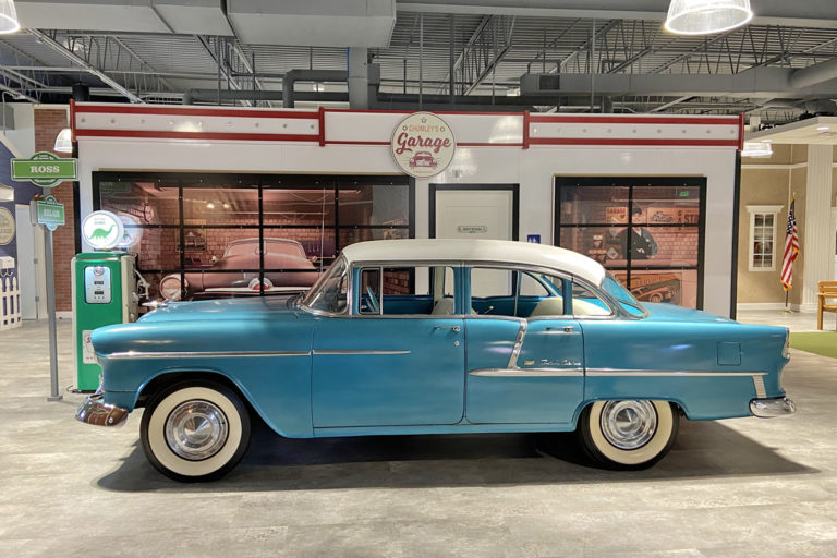A '55 Bel Air is one of the first things you see at Town Square, an adult day care center in Baltimore, that's designed like the 1950s to bring out old memories as a form of reminiscence therapy. (Lecia Bushak/For WHYY)