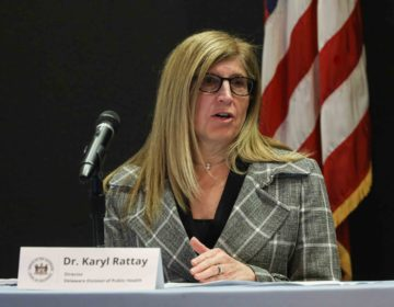 Dr. Karyl Rattay, Director, Delaware Division of Public Health answers questions regarding Delaware's response to coronavirus disease during a press briefing in the auditorium Friday April 3, 2020 at Carvel State Office building in Wilmington, DE.  (Saquan Stimpson / WHYY)