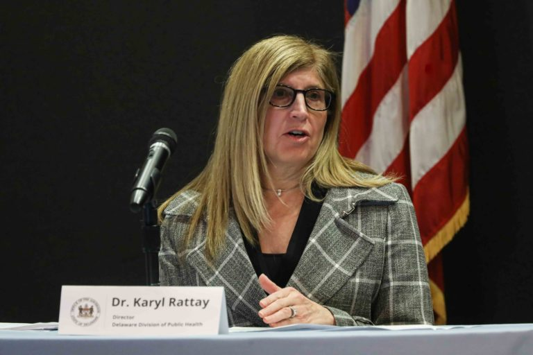 Dr. Karyl Rattay, Director, Delaware Division of Public Health answers questions regarding Delaware's response to coronavirus disease during a press briefing at the Carvel State Office building in Wilmington, DE. (Saquan Stimpson / WHYY)