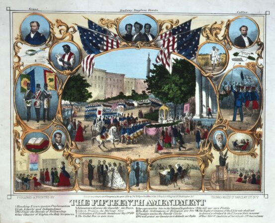 This 1870 poster depicted the Fifteenth Amendment's impact and the parades held to celebrate it. The portraits include  Frederick Douglass, his fellow activist Martin Delany, John Brown, Presidents Lincoln and Grant, and Hiram Revels of Mississippi, the first African American to serve in the Senate. (Library of Congress)