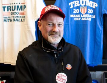 Andy Meehan is running for Congress in Pennsylvania's First Congressional District against incumbent Republican Brian Fitzpatrick. In February, he found the Trump Store to be a great location to collect signatures for the ballot. (Becca Haydu for WHYY)