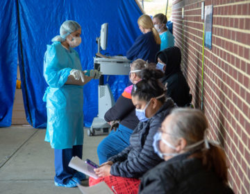 People line up for COVID-19 testing at Holy Name Medical Center in Teaneck, New Jersey, on March 17, 2020. (Jeff Rhode/Holy Name Medical Center)