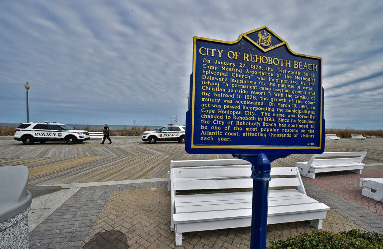 The Rehoboth Beach boardwalk closed to the public after Del. Gov. John Carney ordered all state beaches closed in an effort to slow the spread of the coronavirus. (Butch Comegys for WHYY)