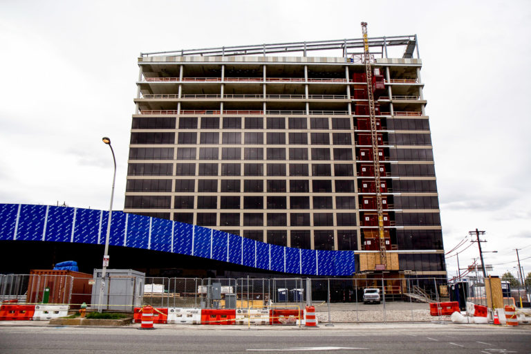 The new Live! Hotel & Casino under construction at 900 Packer Ave. in South Philadelphia. (Kimberly Paynter/WHYY)