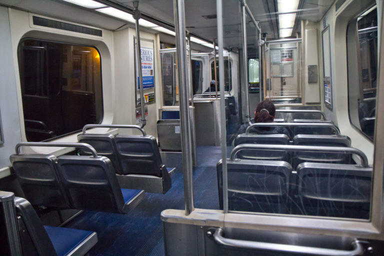 On Tuesday, a usually busy Market Frankfort line was nearly deserted. (Kimberly Paynter/WHYY)