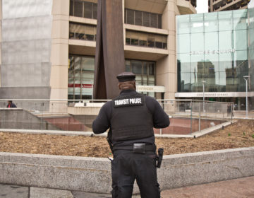 Transit police stand outside the Clothes Pin in Center City. (Kimberly Paynter/WHYY)