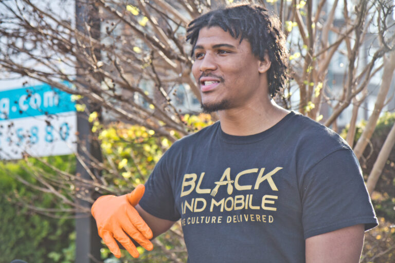 David Cabello is the owner of Black and Mobile, a delivery business focused on connecting Black restaurant owners to customers. (Kimberly Paynter/WHYY)