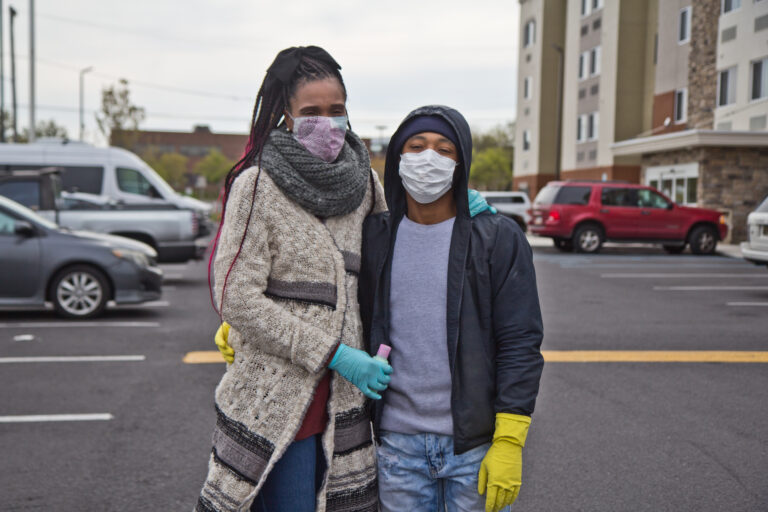 Jalisa McCall and her husband Sean are living in a hotel with money they borrowed from a mutual aid group. (Kimberly Paynter/WHYY)