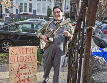 Dottie Levine delivers singing telegrams during coronavirus shutdowns in Philadelphia. (Kimberly Paynter/WHYY)