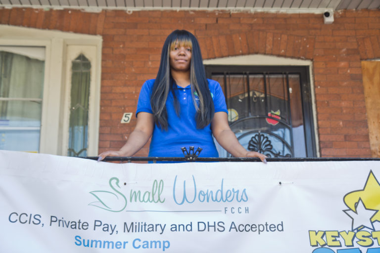Latonta Godboldt is the owner, operator and director of Small Wonders, a daycare in Philadelphia. (Kimberly Paynter/WHYY)