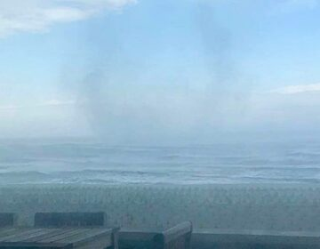 A waterspout over the Atlantic Ocean on Tuesday afternoon. (Photo courtesy of Michaela Murray/Jersey Shore Hurricane News)