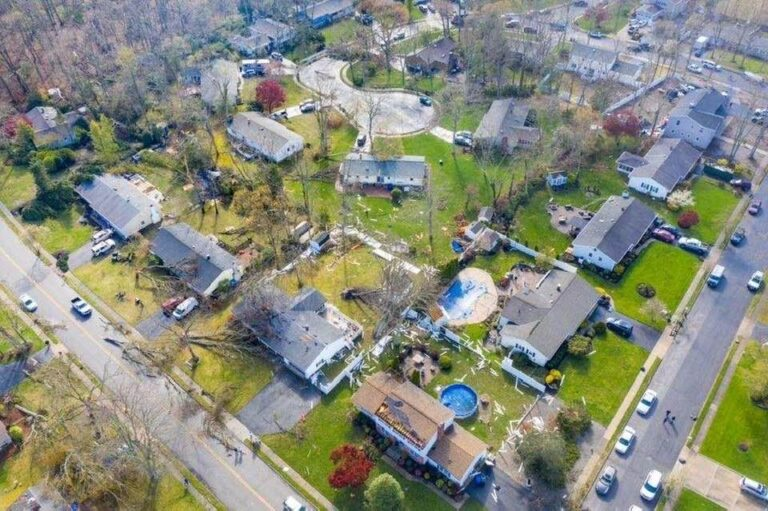 A drone image of storm damage in Toms River Tuesday afternoon. (Courtesy of the Toms River Police Department)