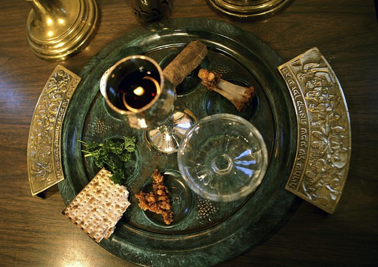 In this file photo, a traditional Passover seder plate is seen at Congregation Beth El in Tyler, Texas, on the first night of Passover. (Dr. Scott M. Lieberman/AP Photo)
