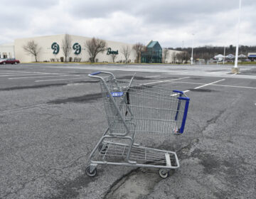 In this Tuesday, March 17, 2020, photo, a lone shopping cart sits in an empty parking lot near a shopping mall closed due to coronavirus concerns in Pottsville, Pa. Millions of displaced Americans are losing their jobs amid the widening shutdowns to contain the coronavirus. (Jacqueline Dormer/Republican-Herald via AP)