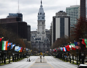 A couple walk their dog across the sparsely traveled Benjamin Franklin Parkway in Philadelphia, Friday, April 3, 2020. (Matt Rourke/AP Photo)