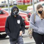 April 4, 2020, Scotch Plains, New Jersey, USA: Customer is ready for shopping wearing a top of the line protective mask at Home Depot during this covid-19 pandemic in Watchung, New Jersey. Duncan Williams/CSM.(Credit Image: © Duncan Williams/CSM via ZUMA Wire) (Cal Sport Media via AP Images)