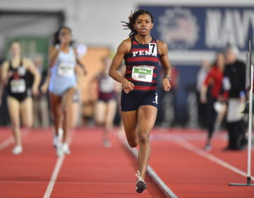 Penn senior nursing major Nia Akins competes in the 800-meter division. (Image courtesy of the University of Pennsylvania)