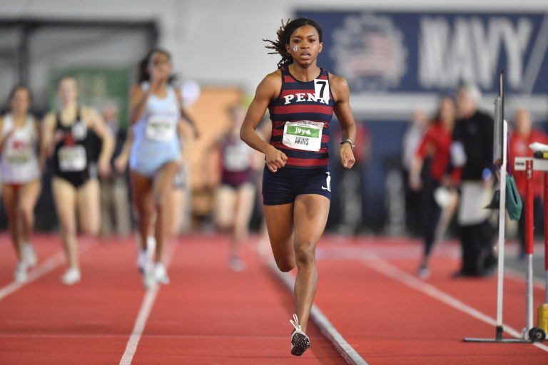 Penn senior nursing major Nia Akins competes in the 800-meter division. (Image courtesy of the University of Pennsylvania)