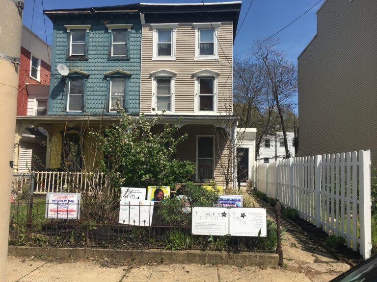 Socially distant art gallery in West Philadelphia yard
