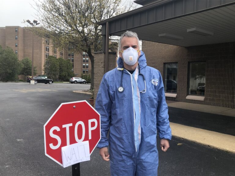 Dr. Jack Horowitz of Newark Urgent Care says patients with COVID-19 symptoms are assessed outside to protect patients and staff. (Cris Barrish/WHYY)