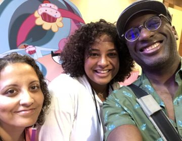 The author (center) with her parents at BlerdCon. Courtesy of Joycelin Farmer.