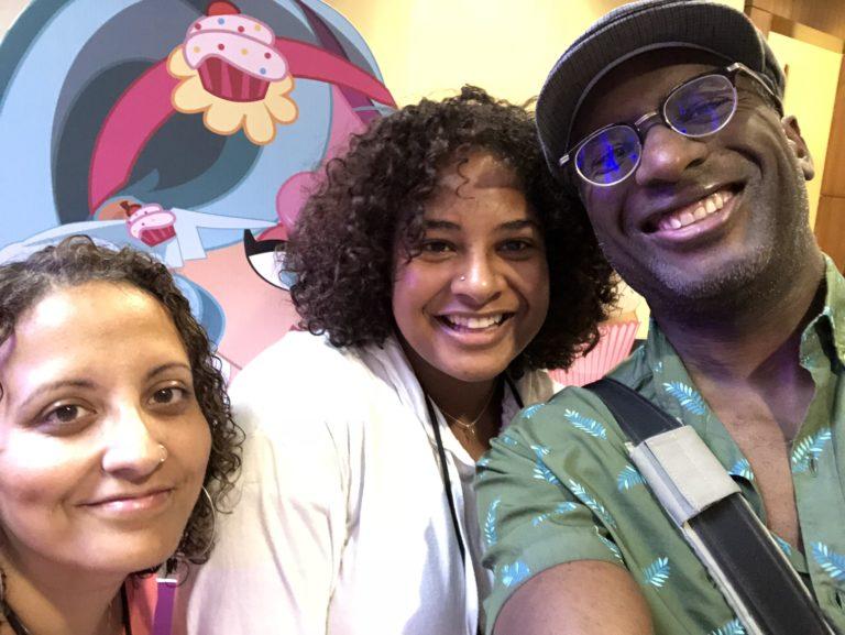 The author (center) with her parents at BlerdCon. Courtesy of Joycelin Farmer.