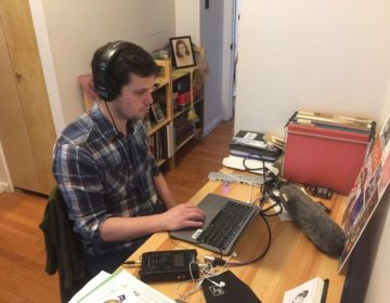 Keystone Crossroads reporter Avi Wolfman-Arent working from home. (Rosie Dillon)