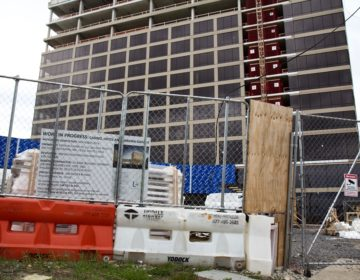 Work is ongoing at the Xfinity Live Casino site at 900 Packer Ave. in South Philadelphia. (Kimberly Paynter/WHYY)