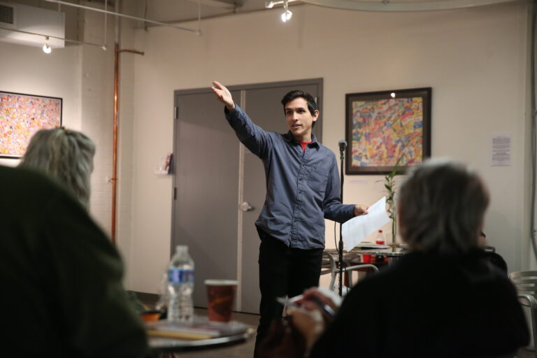 Reading-based poet Anthony Orozco reads poems at the GoggleWorks Center for the Arts. (Courtesy of Natalie Kolb)