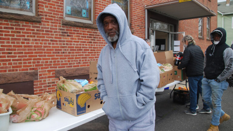 Roderick Sanders came to pick up food at a Long Branch food pantry after losing his job in a local restaurant. (Jon Hurdle/NJ Spotlight)