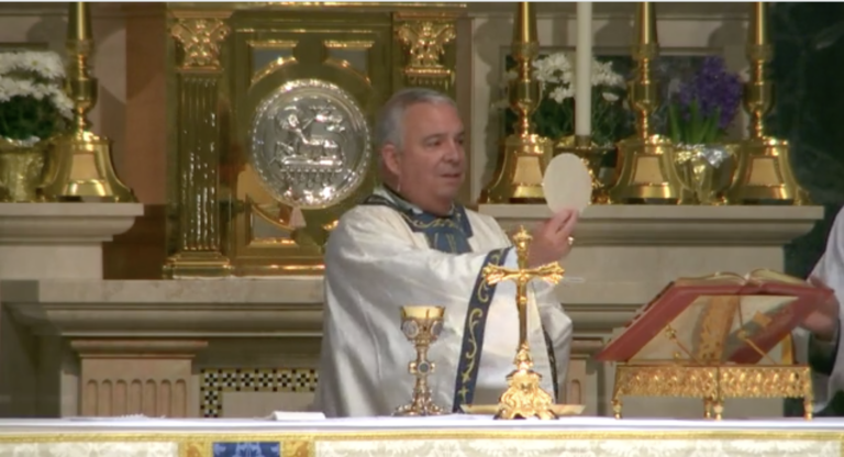 Archbishop Nelson Pérez, Philadelphia's new Catholic archbishop, during Easter Mass. (Screenshot)