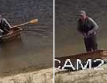 U.S. Coast Guard Mid-Atlantic released these surveillance images of a missing man who rowed a boat into the Toms River on Tuesday. (Courtesy of U.S. Coast Guard Mid-Atlantic)